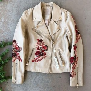 Blank NYC Tan Floral Embroidered Moto Jacket